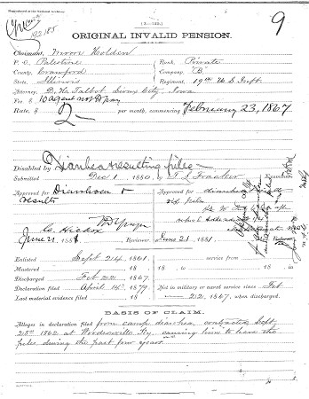 Moore Holden Civil War Pension Application